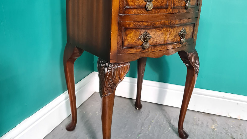 An Antique Style Burr Walnut Bedside Table Cabinet ~Delivery Available~