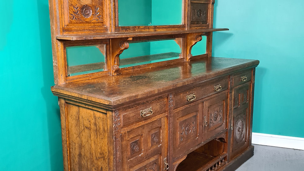 An Antique Large Victorian Mirrored Back Dresser Sideboard ~Delivery Available~