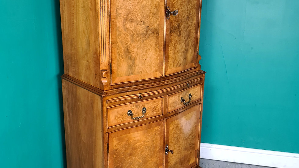 An Antique Style Burr Walnut Cocktail Cabinet Cupboard ~Delivery Available~