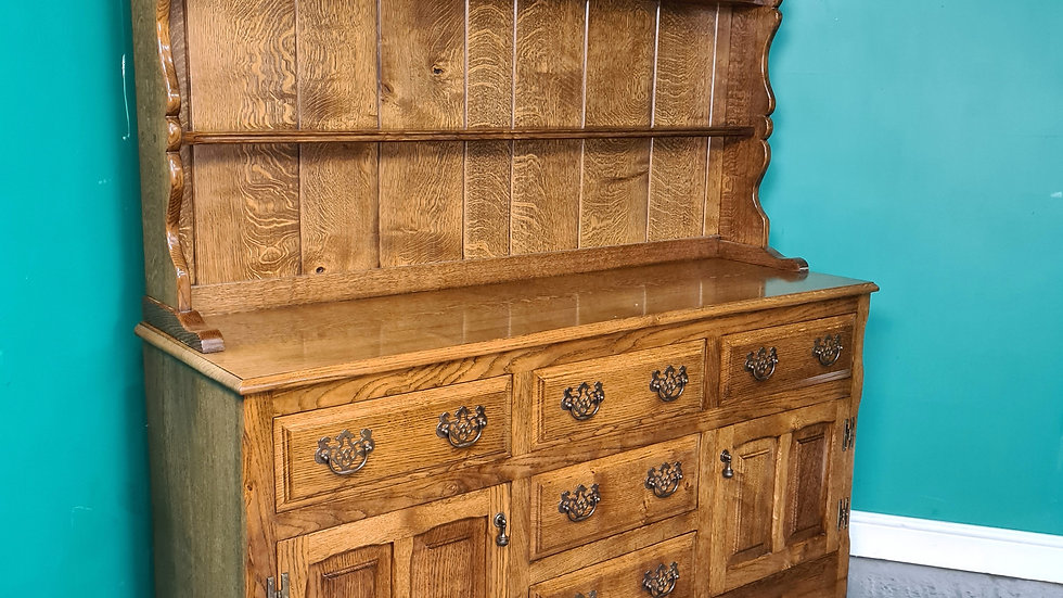 An Antique Style High Quality Solid Oak Welsh Dresser ~Delivery Available~