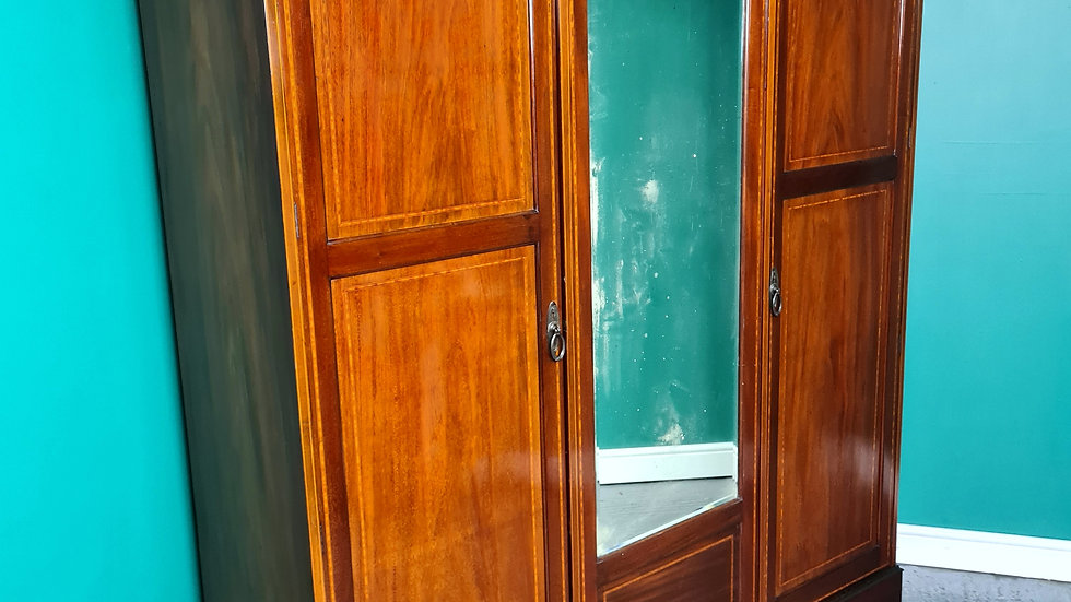 An Antique Edwardian Mahogany Triple Wardrobe ~Delivery Available~