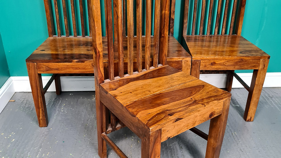 A Solid Set of Four Indian Rosewood Slat Back Dining Chairs ~Delivery Available~