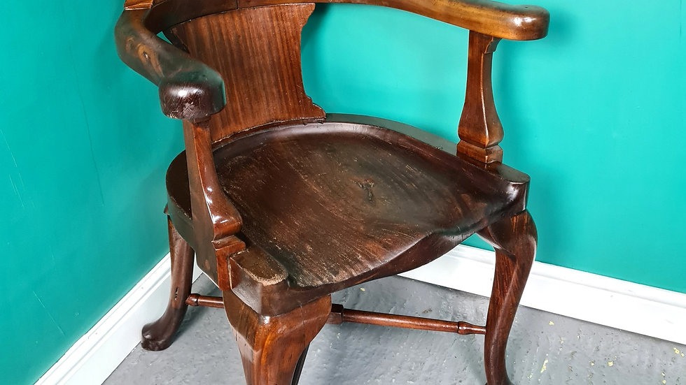 An Antique 19th Century Mahogany Smokers Bow Chair ~Delivery Available~