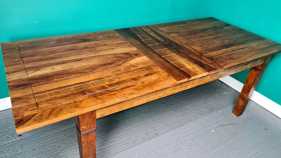 An Antique Style Solid Mango Wood 7.4ft Extending Dining Table ~Delivery Availab