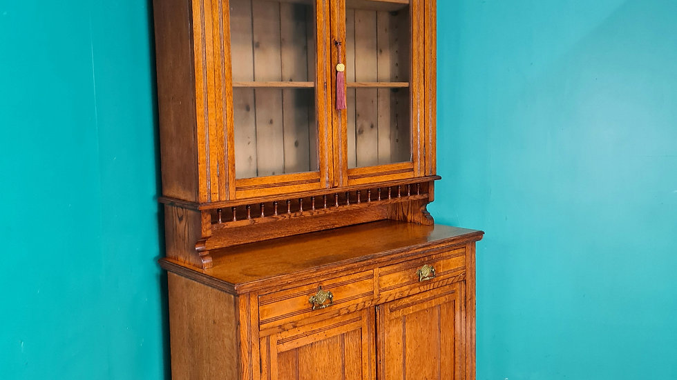 An Antique Early 20th Century Oak Dresser Bookcase Cabinet ~Delivery Available~