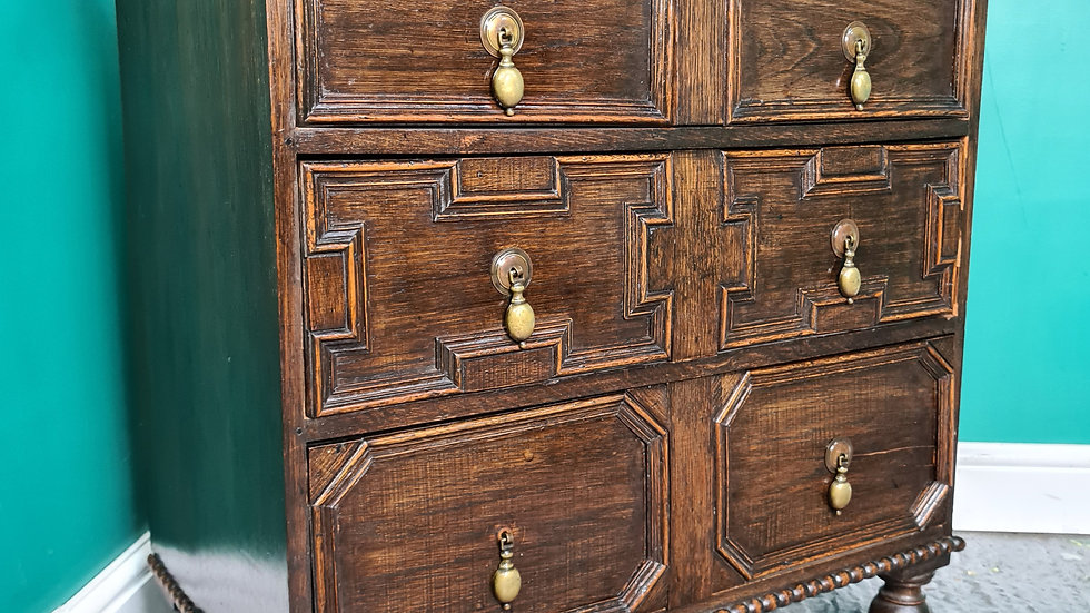 An Antique Early 20th Century Jacobean Style Small Chest of Drawers ~Delivery Av