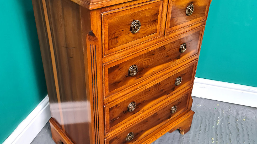 An Antique Style Small Yew Chest of Drawers ~Delivery Available~