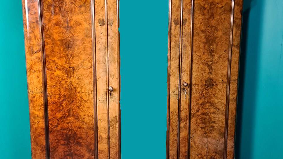 An Antique Victorian Burr Walnut Triple Wardrobe ~Delivery Available~