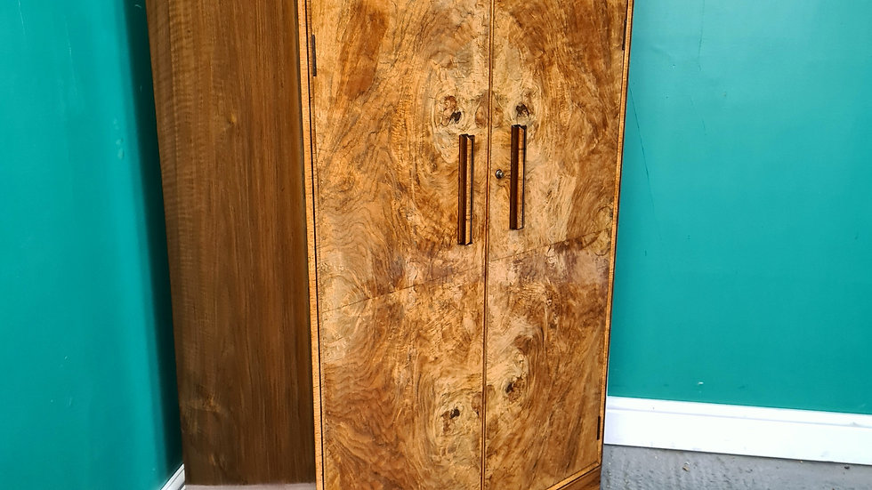 An Antique Art Deco Walnut Tallboy Cabinet Cupboard ~Delivery Available~