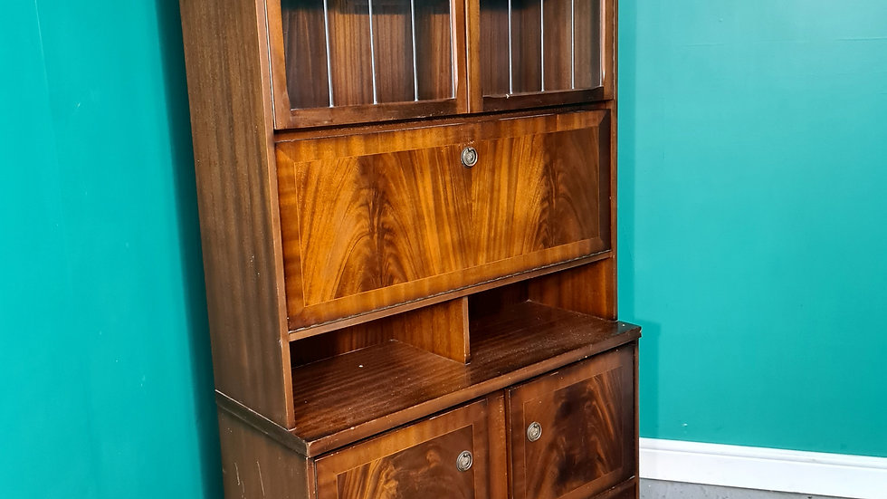 An Antique Style Flame Mahogany Bookcase Desk Dresser ~Delivery Available~