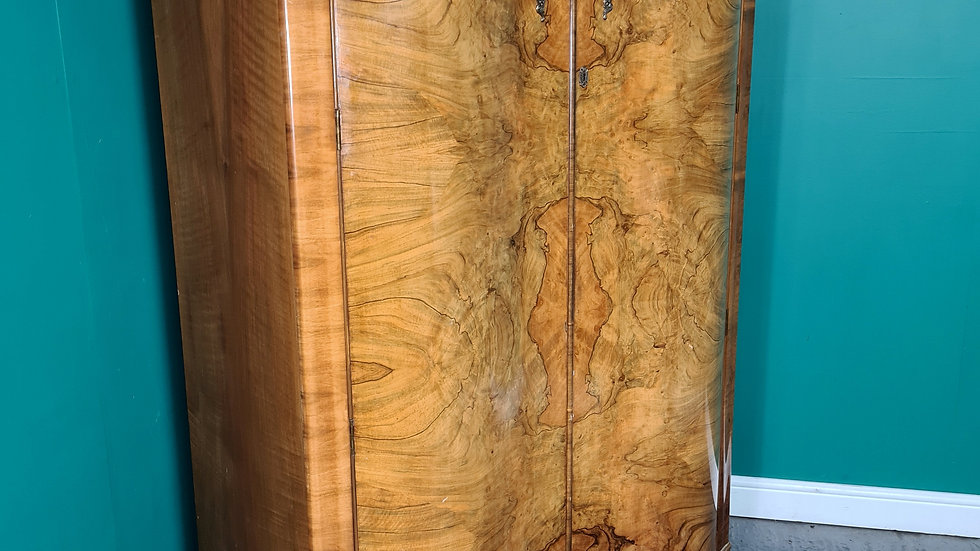 An Antique Art Deco Walnut Double Wardrobe ~Delivery Available~