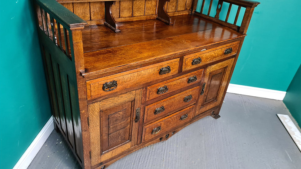 An Antique Arts and Crafts Oak Sideboard Buffet ~Delivery Available~
