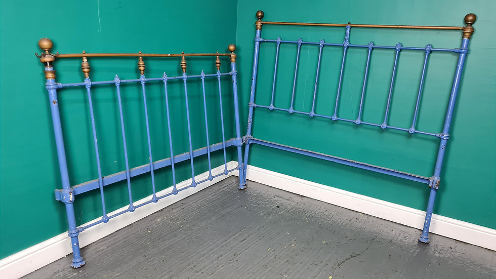 An Antique Victorian Blue Painted Brass Double Bed ~Delivery Available~