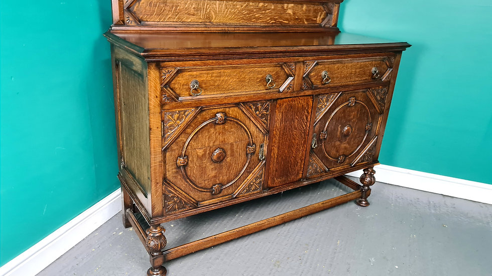 An Antique High Quality Oak Jacobean Style Sideboard Buffet ~Delivery Available~