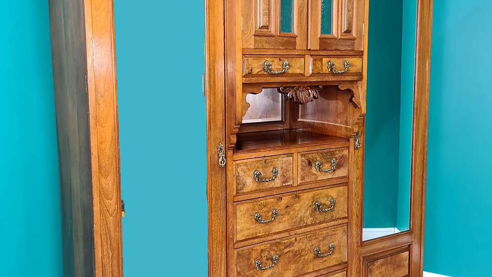 An Antique Victorian Walnut Triple Wardrobe ~Delivery Available~