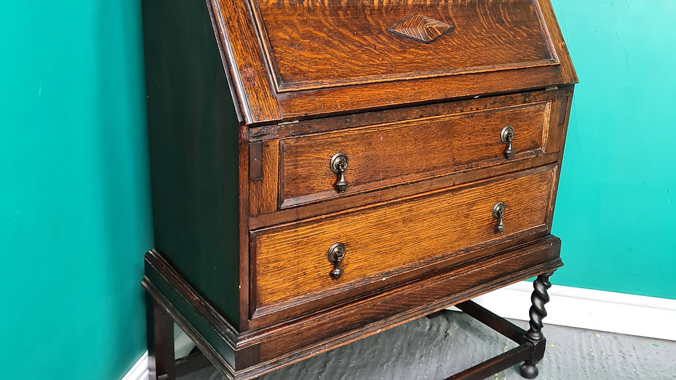 An Antique Style Early 20th Century Oak Bureau Desk ~Delivery Available~