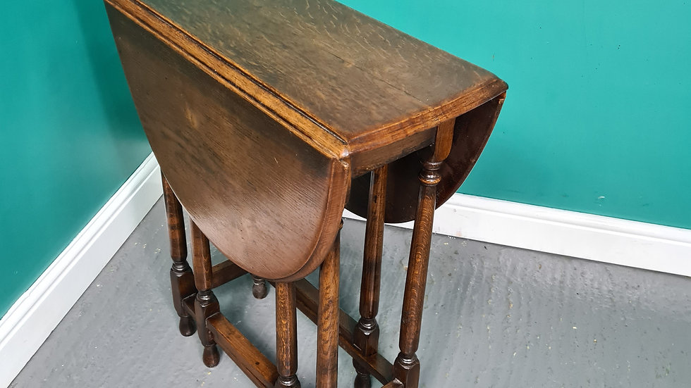 An Antique Style Small Drop Leaf Oak Lamp Table ~Delivery Available~