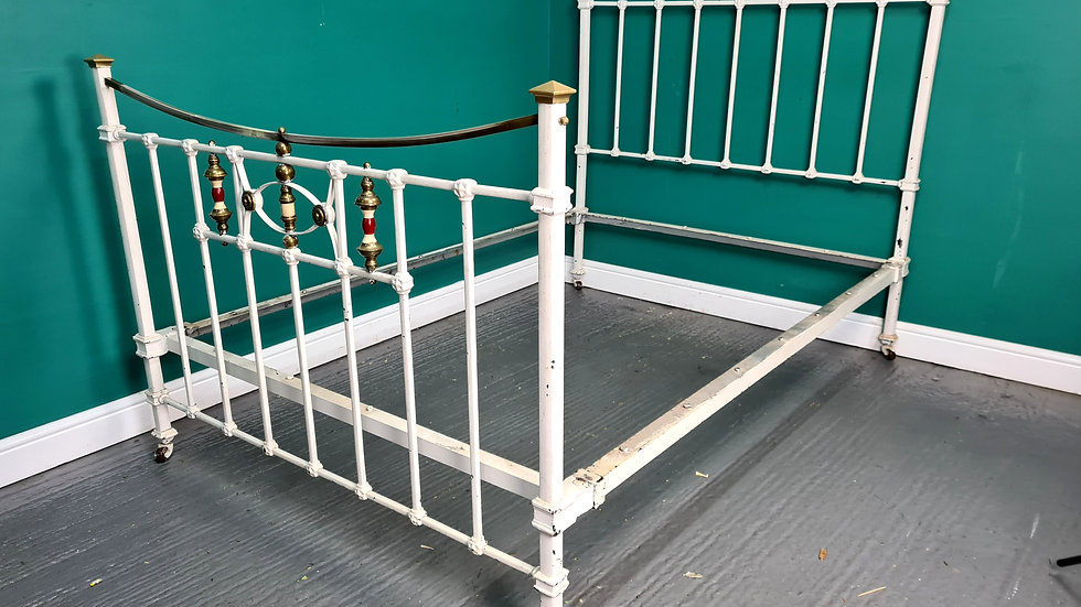 An Antique Early 20th Century Cast Iron Double Bed Frame ~Delivery Available~