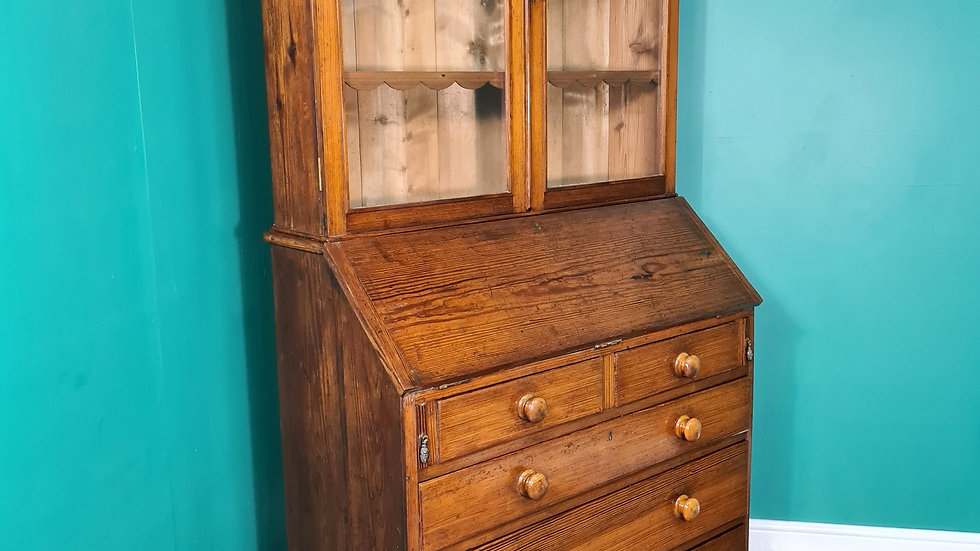 An Antique Victorian Pitch Pine Bureau Bookcase ~Delivery Available~