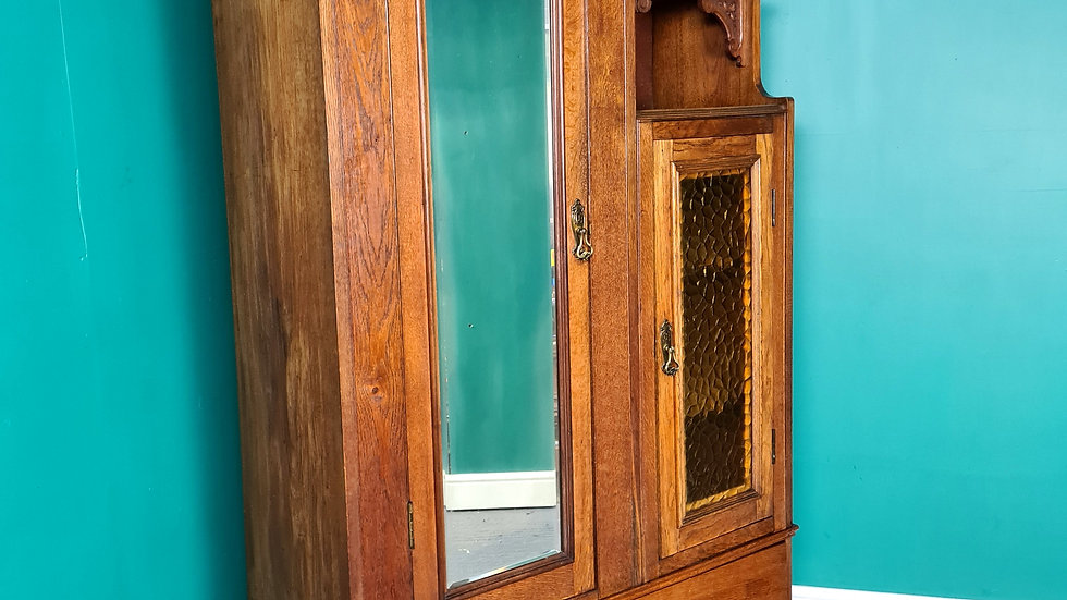 An Antique Arts And Crafts Oak Wardrobe Hall Cupboard ~Delivery Available~