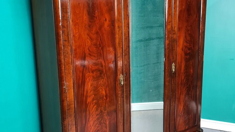 An Antique Victorian Flame Mahogany Triple Wardrobe ~Delivery Available~