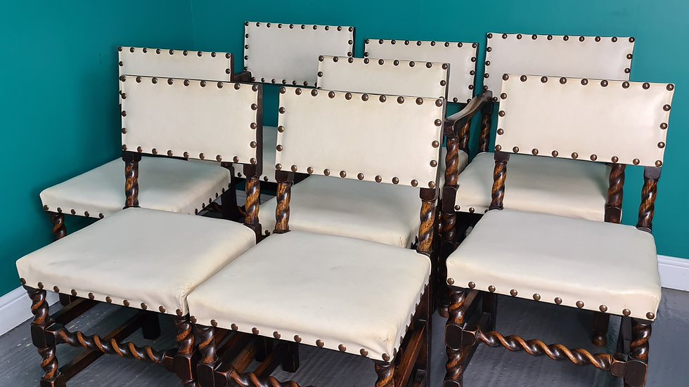 An Antique Style Set of 8 Dining Chairs White Leather Studded ~Delivery Availabl