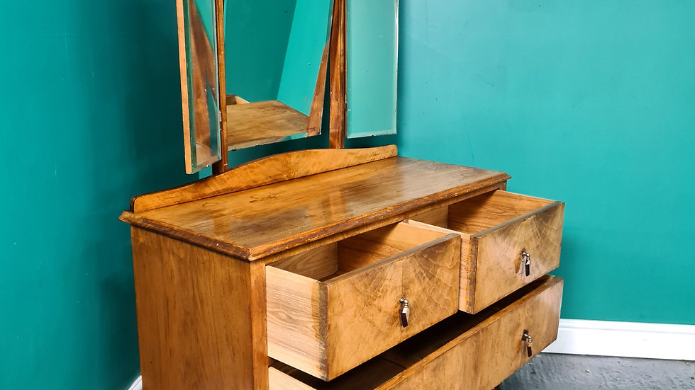 An Antique Art Deco Walnut Dressing Table Chest~Delivery Available~