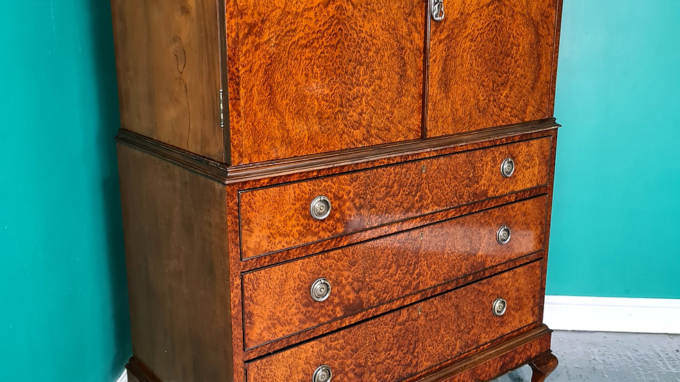 An Antique Style Birds Eye Maple Tall Boy Chest of Drawers ~Delivery Available~