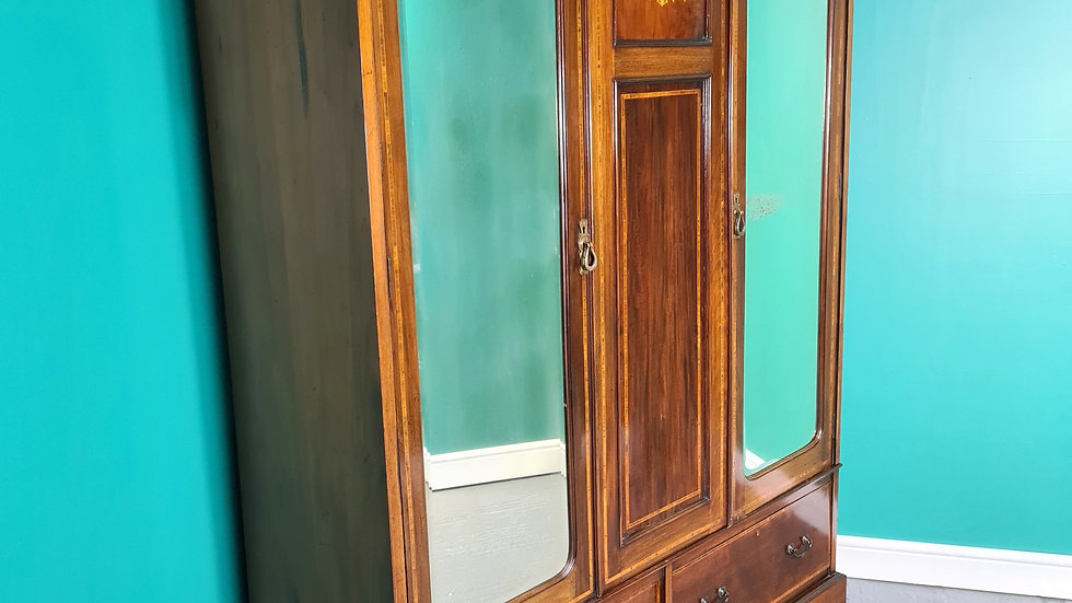 An Antique Edwardian Inlaid Mahogany Double Wardrobe ~Delivery Available~