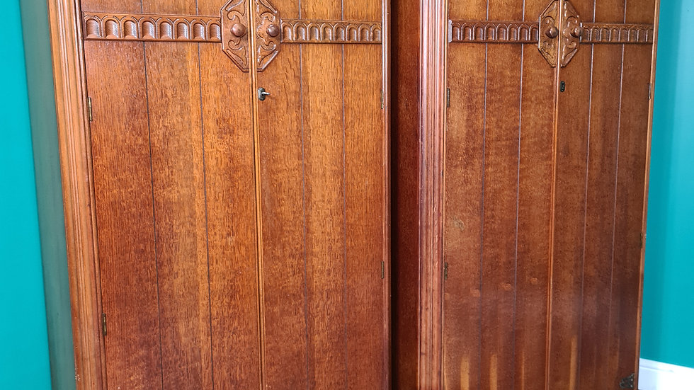 A Pair of Oak Double Wardrobes Gentleman's Wardrobe ~Delivery Available~
