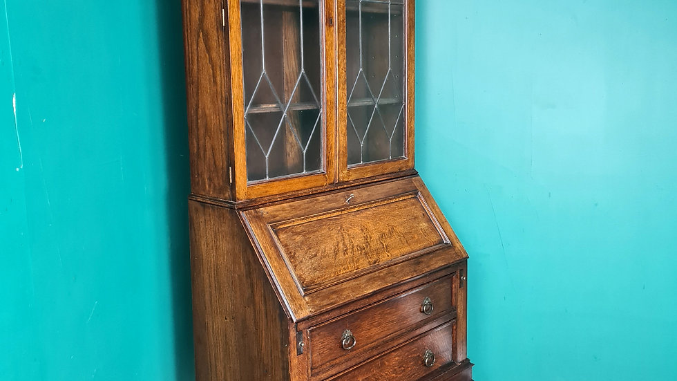 An Antique Early 20th Century Oak Bureau Bookcase ~Delivery Available~