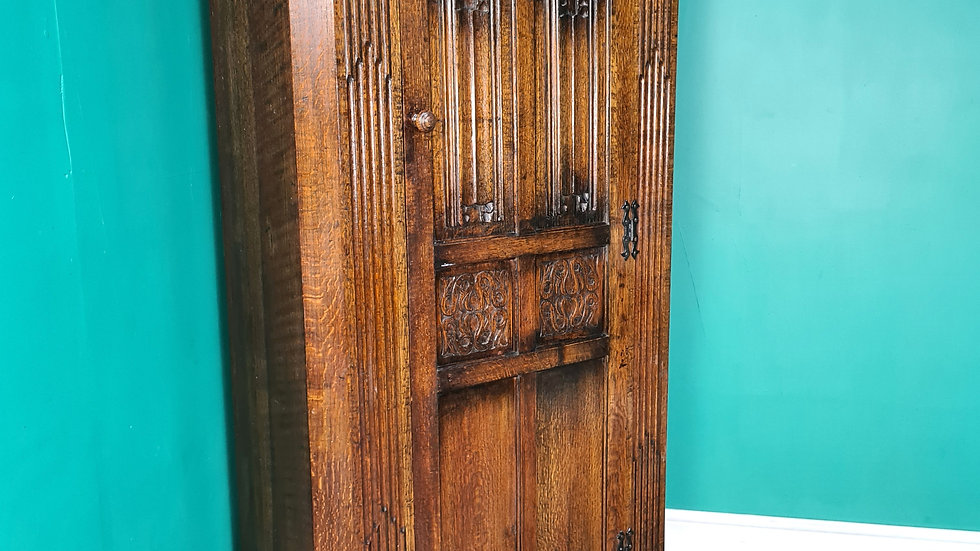 An Antique Early 20th Century Solid Oak Wardrobe Hall Cabinet  ~Delivery Availab