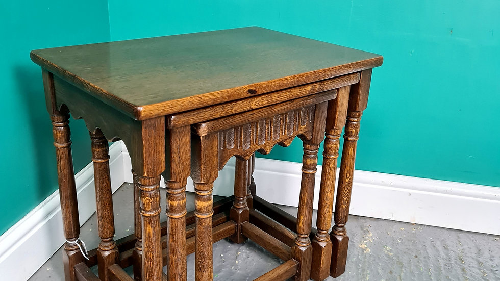 An Antique Old Charm Style Nest of Three Coffee Tables ~Delivery Available~