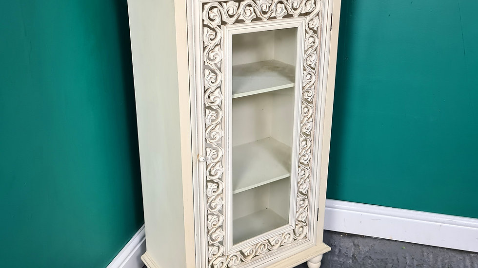 An Antique Style Ivory Painted Cabinet Cupboard ~Delivery Available~