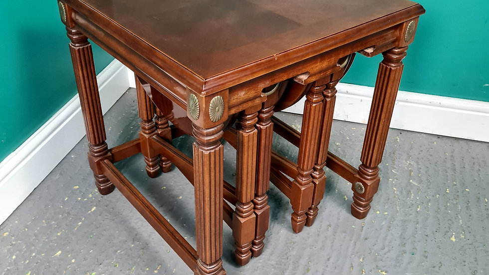 An Antique Style Nest of Three Coffee Tables ~Delivery Available~