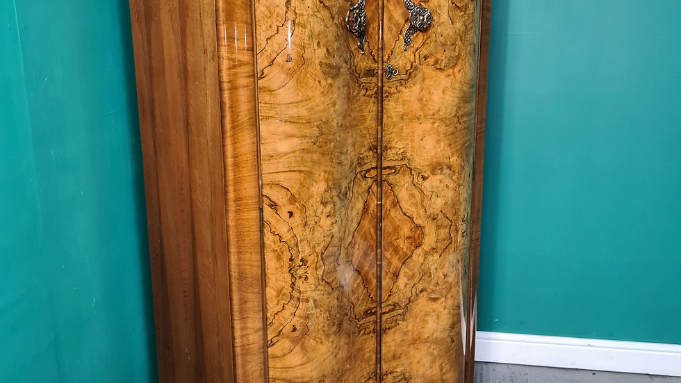 A Vintage Art Deco Burr Walnut Gentleman's Wardrobe  ~Delivery Available~