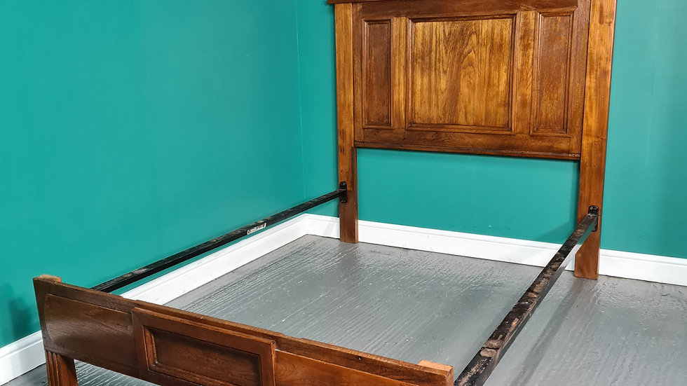 An Antique Victorian Solid Oak Double Bed Frame ~Delivery Available~