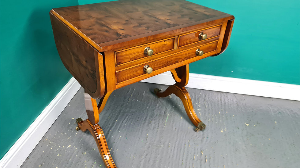 An Antique Style Yew Sofa Table Occasional Hall Table ~Delivery Available~