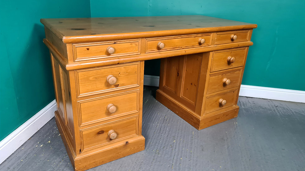 An Antique Style 20th Century Solid Pine Twin Pedestal Desk ~Delivery Available~