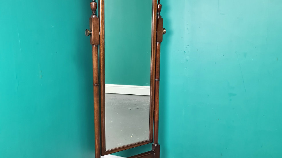 An Antique Style High Quality Mahogany Cheval Mirror ~Delivery Available~