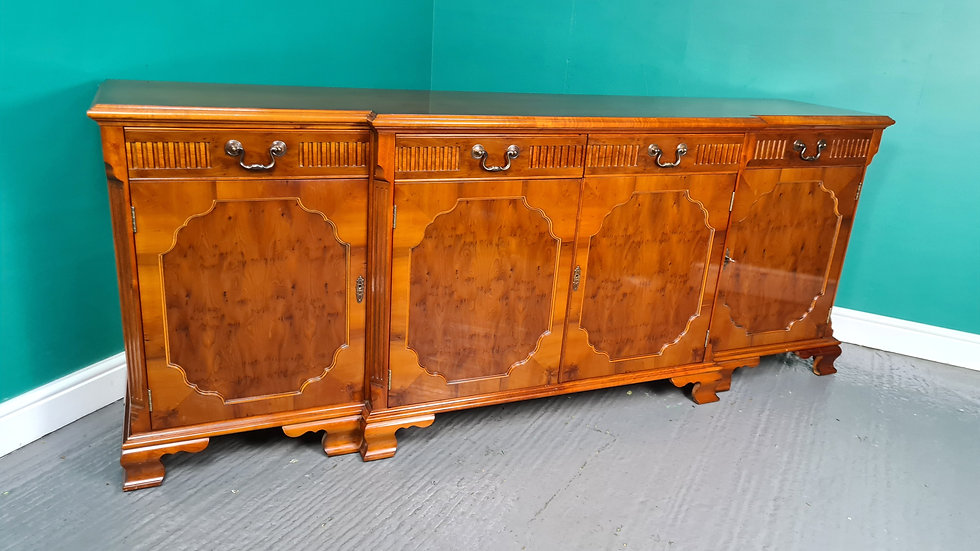 An Antique Style Yew Charles Barr Break Front Sideboard ~Delivery Available~