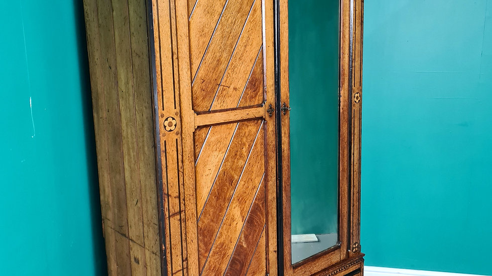Antique Victorian Aesthetic Movement Inlaid Ash Wardrobe After Bruce Talbert