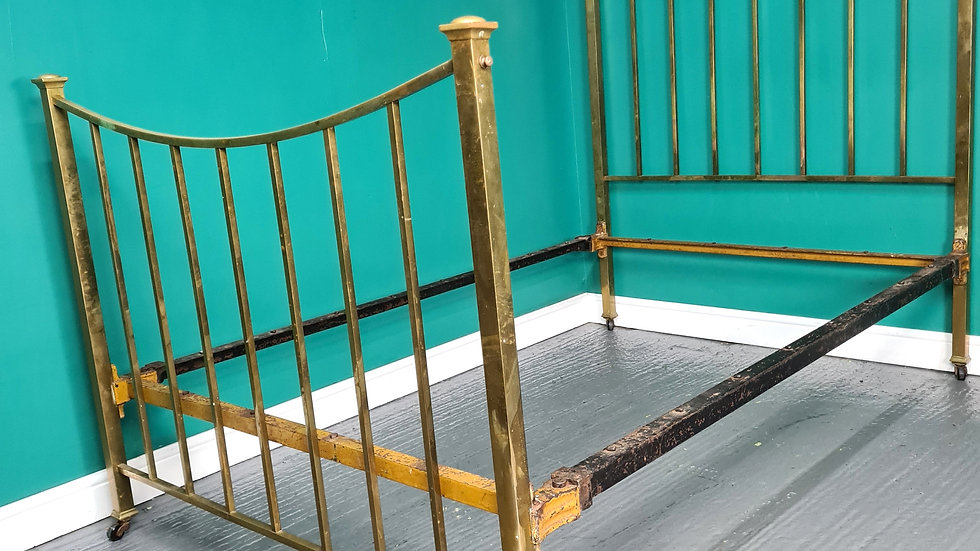 An Antique Early 20th Century Brass Double Bed Frame ~Delivery Available~