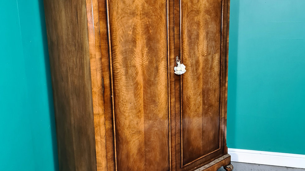 An Antique Early 20th Century Walnut Queen Ann Double Wardrobe ~Delivery Availab