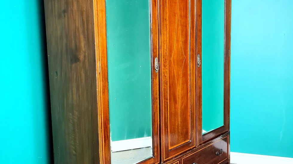 An Antique Edwardian Mahogany Double Wardrobe ~Delivery Available~