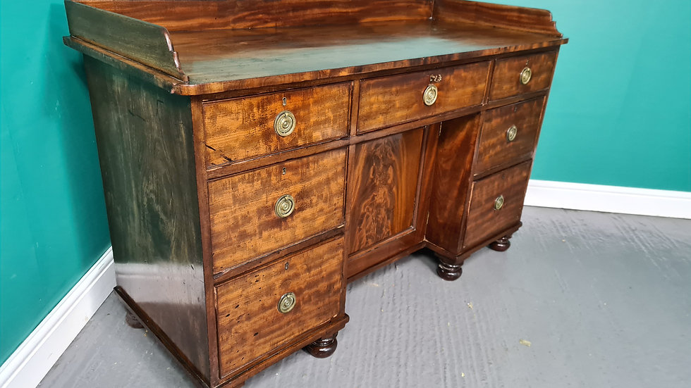 An Antique Victorian 19th Century Mahogany Knee Hole Desk ~Delivery Available~