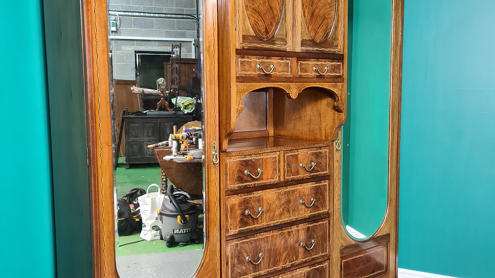 An Antique Edwardian Mahogany Inlaid Triple Wardrobe ~Delivery Available~