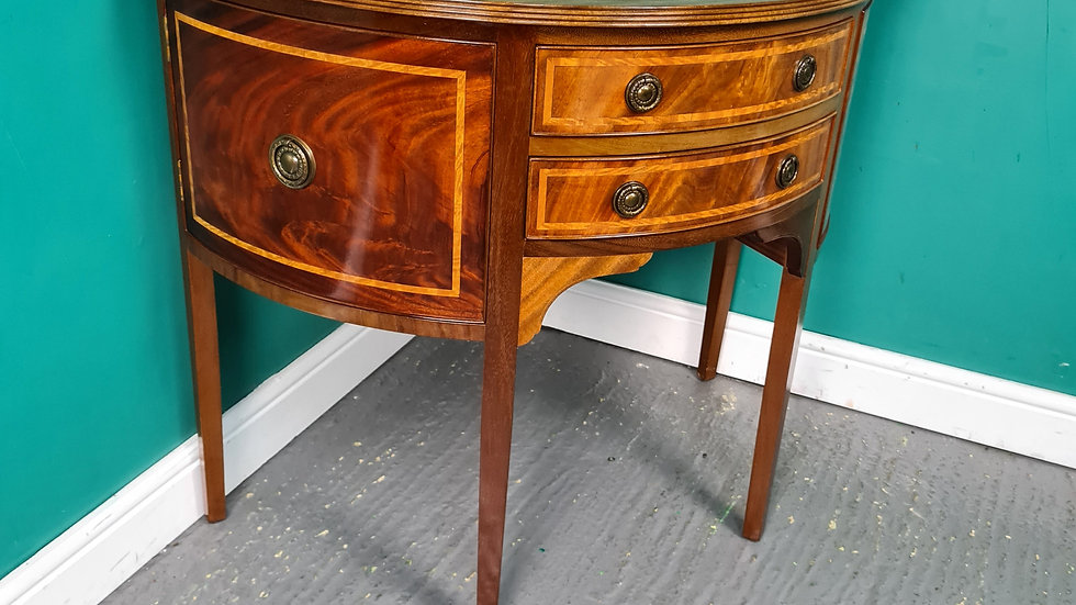 An Antique Style Mahogany Demi Loon Hall Table ~Delivery Available~