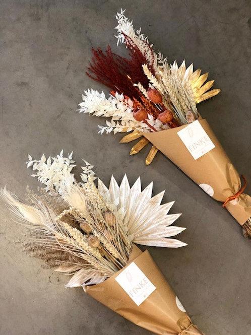 Boeket droogbloemen -  palm wit