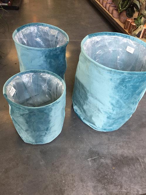 Plantenzak textiel blauw - S